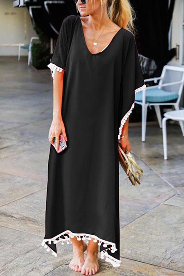 V-neck Paneled Solid Tassel Batwing Holiday Maxi Dress