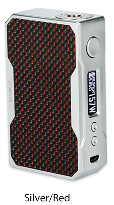 Drag 157W TC Box MOD - Silver/Red Carbon - free Sony VCT4 18650 batteries