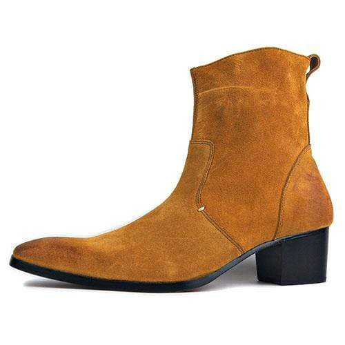 44980b36166b6 Moleshoes 4 Color High Heel Boots For Men Handmade Genuine Suede Leather  Boot Classic Shoes