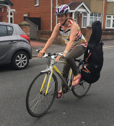 One of our customers using the Mundo Air Pannier to carry her cello