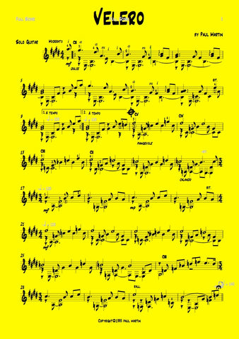 Guitar music, Latin guitar piece for solo guitar by Paul Martin. Spanish guitar, folk guitar sheet music.