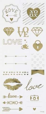 "✿ Stickervel Stickers ""Love"" Goud ✿"