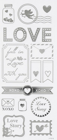 "✿ Stickervel Stickers ""Love"" Zilver ✿"