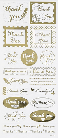 "✿ Stickervel Stickers ""Thanks You"" Goud ✿"