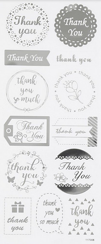 "✿ Stickervel Stickers ""Thank You"" Zilver ✿"