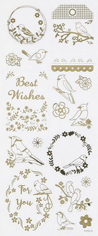 ✿ Stickervel Stickers Vogels Goud ✿