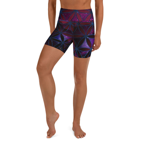 Celestial Indigo Rose - Yoga Shorts