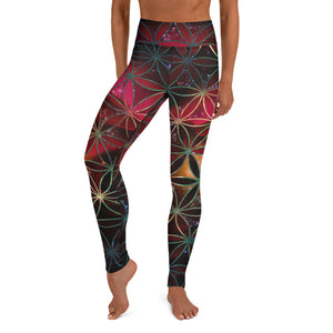 Celestial Red Rose - Yoga Leggings