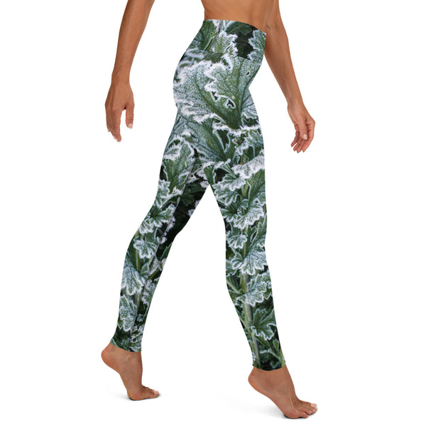 Frosted Green Leaf - Yoga Leggings