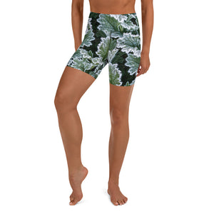Frosted Green Leaf - Yoga Shorts