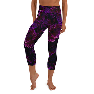 Burgundy Frost - Yoga Capri Leggings