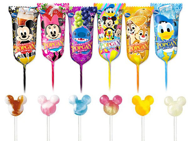 GLICO Disney Popcan Mix Flavor Lollipop 1pc 江崎 迪士尼什锦味棒棒糖 1枚