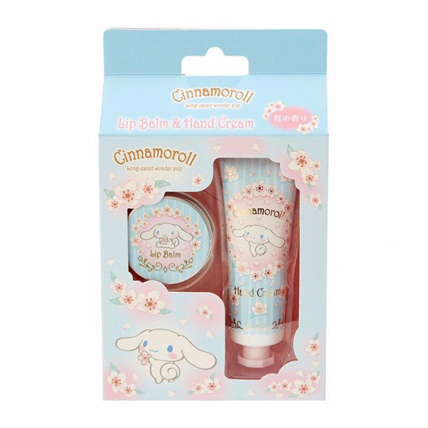 SANRIO Sakura Limited Edition Lip Balm & Hand Cream Set (Cinnamoroll) 三丽鸥 春季樱花限定护手霜润唇膏套装 (玉桂狗)