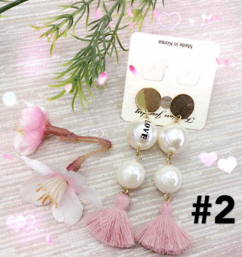 Korean Double Pearl Earrings 韩国双珠流苏吊坠
