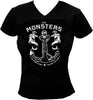 GIRL-T-SHIRT-BLACK-(V-NECK)-THE MONSTERS-ANCHOR