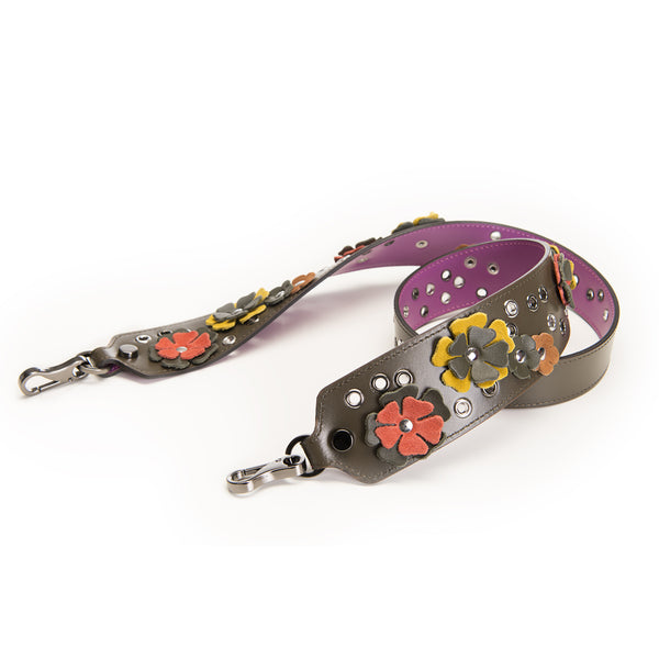 LEATHER SHOULDER STRAP / TRACOLLA FLOWER 92cm