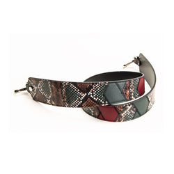 LEATHER SHOULDER STRAP / TRACOLLA PITONE PATCHWORK 92cm