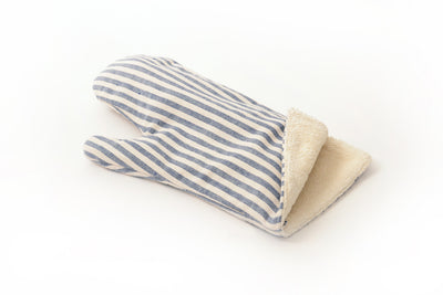 Blue Certified Organic Cotton Oven Mitt-Stripe