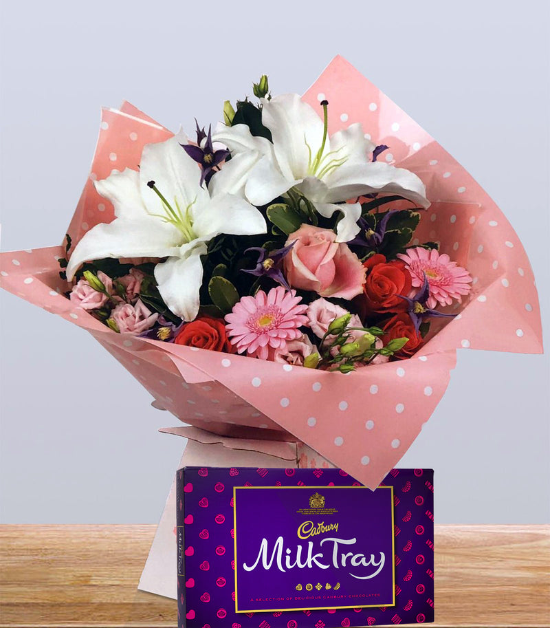 Seasonal Mixed Flower Hand-Tied with a FREE box of chocolates