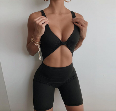 Summer Casual Elastic Skinny Rompers Women Sleeveless Backless Active wear Workout Shorts Playsuits Fashion Outfits