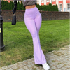 Purple Ribbed Y2K Joggers Women Knitted Flare Pants Slim High Waist Aesthetic Trousers Female Vintage 90s Sweatpants