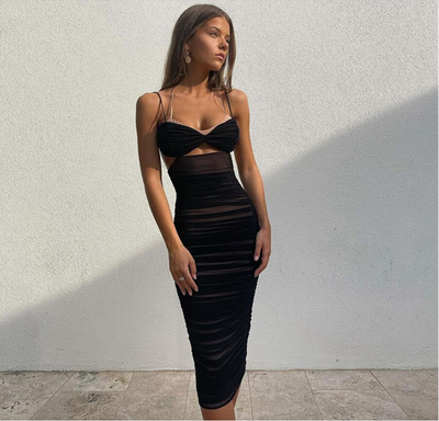 Summer Double Layer Mesh Sexy Slim Halter Dress Women Sleeveless V Neck Casual Party Vacation Beach Long Dresses