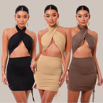 Women Sexy Hollow Bandage Cross Halter Dress Fashion Slim Sleeveless Clothing Street Lady Trend Mini Dresses 2021