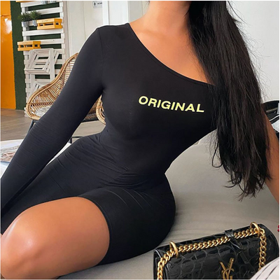 Sexy Sport Bodycon Jumpsuit Letter Print One Shoulder Long Sleeve Bodycon Romper Black Blue One Piece Outfit