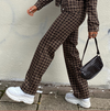 Brown Plaid Stripe Y2K Straight Joggers Women Streetwear Cargo Pants High Waist Vintage 90s Aesthetic Trousers Gothic