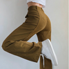 Corduroy Y2K Baggy Joggers Women Brown Patchwork Straight Trousers Neon Color Vintage 90s Aesthetic Streetwear Pants