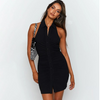 Sexy Black Club Dress 2021 Sleeveless Halter Open Back Mini Dresses Women Summer Button Down Bodyocn Dress