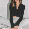Half Zip Long Sleeve Crop Top Woman Tshirts 2020 Fall Winter Clothes Black Gray Rib Knit Sexy Sporty Tops