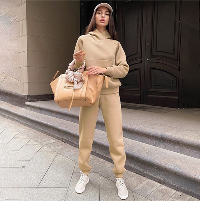 Fleece Tracksuit Women Two Piece Set Sport Hoodie Joggers Sweatpants Matching Sets Warm Outfits Winter