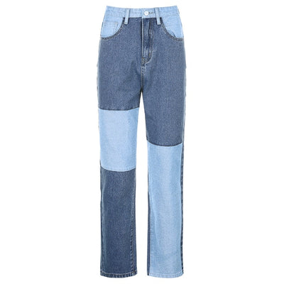 Autumn Fashion Patchwork Jeans Pants Women 90s Streetwear Cargo Pants High Waisted Girl's Denim Straight Trousers