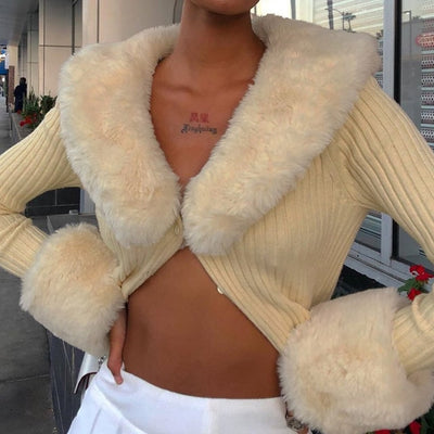 Ribbed Knitted Ladies Cardigans Sweaters With Fur Trim Collar Long Sleeve Slim Autumn Winter Jumpers Women Knitwear Y2K