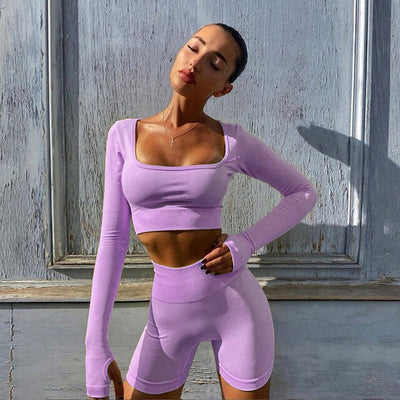 Sport Fitness Jogging Suits Women Two Piece Set Long Sleeve Crop Top and Shorts Fall Clothing 2020 Sweatsuits