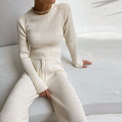 Knitted Sweater Long Sleeve Top and Pants Two Piece Set Women Autumn Winter Outfits Cozy Lounge Wear