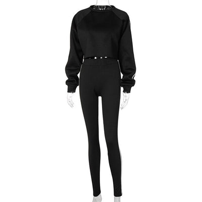 Side Striped Black Fleece Lined Sweat Suits Winter Clothes Women Sports Tracksuit Two Piece Set Top and Pants