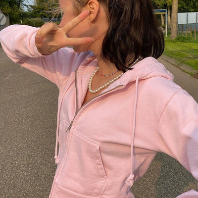 Brown Indie Aesthetic Zip Up Hoodies Women Vintage 90s Cropped Sweatshirts Patchwork Pockets Pink E Girl Pullover Tops