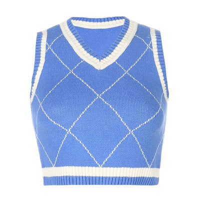 Cropped Argyle Sweater Vest Y2k Fashion Womens Tops Colorful Plaid Knitted Sweaters Fall Winter 2020