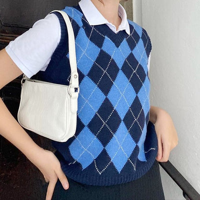 V Neck Argyle Sweater Vest Women Tops Y2k Fashion England Preppy Style Loose Knitted Plaid Sweaters