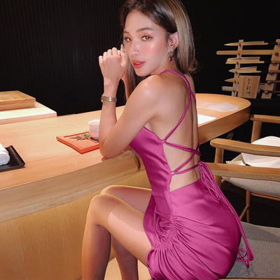 Satin Women Strap Mini Dress Ruched Lace Up Cross Bandage Backless Bodycon Sexy Party Elegant 2020 Club Christmas Slim