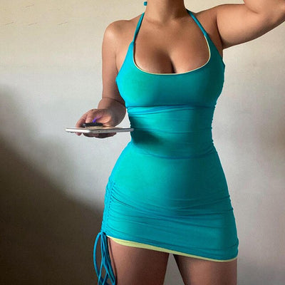 Sexy Dresses for Women Club Wear Spring Summer 2021 Mesh Halter Backless Bodycon Mini Dress Y2k Clothes