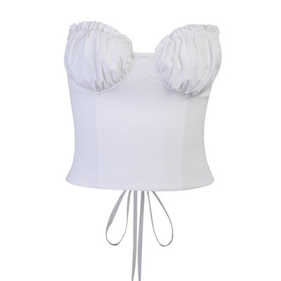 Sexy Vintage White Corset Top Womens Fashion Bustier Tube Top Summer 2021 Ruched Bralette Crop Top Mujer