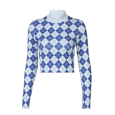 Y2k Knitted Blue Argyle Graphic T Shirts E Girl Style Vintage Turtleneck Long Sleeve Top Women Cropped Tee