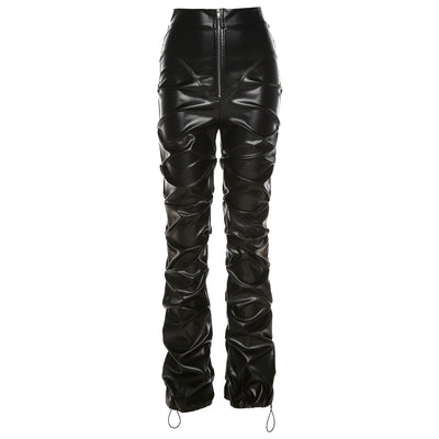 Faux PU Leather Stacked Pants For Women Solid High Waist Hipster Streetwear Trousers Female Black Boot Cut Pants Hot