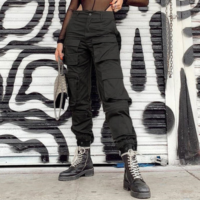 Safari Style High Waist Streetwear Pants Women Pockets Patchwork Hippie Trousers Solid Casual Baggy Cargo Pants Black