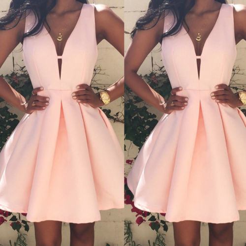 Short Mini Sleeveless V-Neck Dress