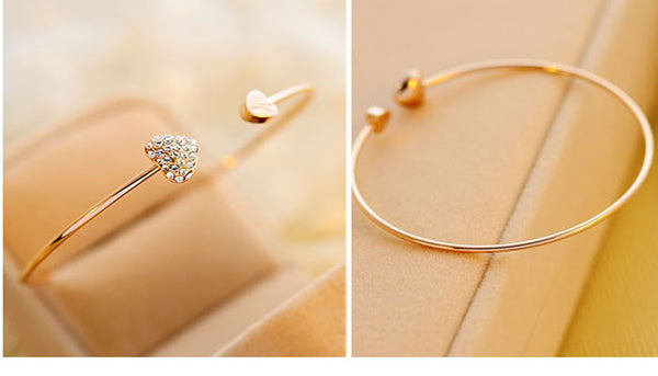 Simple Love Heart Rhinestone Open Bangle Bracelet