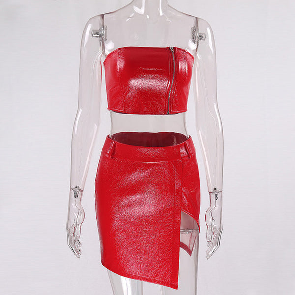 Red Front Zipper Two piece set